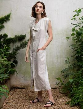 Beige Linen Shirt Dress by Pixie Market