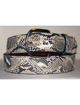 "Genuine Black & White Python Snake Skin Belt Sizes 24 38 by ""Handmade"""