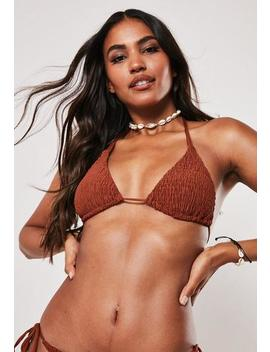 Rust Crinkle Triangle Bikini Top by Missguided