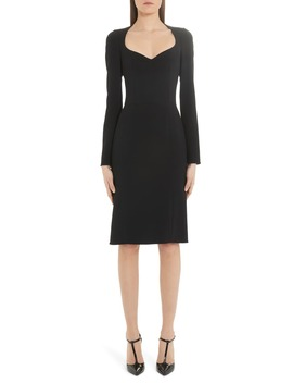 Sweetheart Neck Long Sleeve Cady Crepe Dress by Dolce&Gabbana