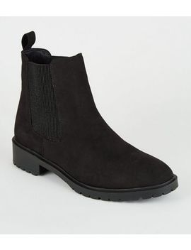 Black Suedette Cleated Flat Chelsea Boots by New Look