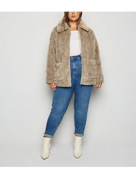 Curves Camel Teddy Jacket by New Look