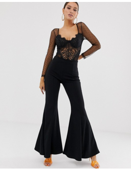 Club L London Mesh Long Sleeve Lace Back Body In Black by Club L