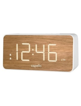 Extra Large Display Digital Alarm Clock White/Pine   Capello® by Capello®