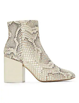 Block Heel Snakeskin Embossed Leather Ankle Boots by Mercedes Castillo