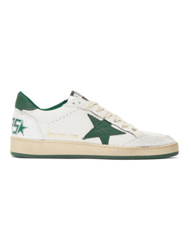 White &Amp; Green Ball Star Sneakers by Golden Goose