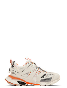 Off White &Amp; Orange Track Sneakers by Balenciaga