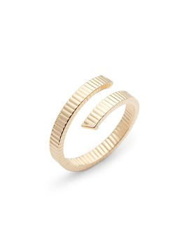 Grooved 14 K Gold Bypass Ring by Bony Levy