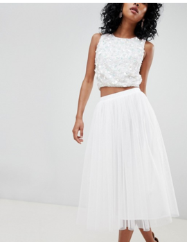 Lace &Amp; Beads Tulle Midi Skirt In White by Lace & Beads