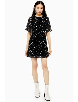 Pleated Spot Cape Dress by Topshop