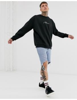 "Boohoo Man – Schwarzes Oversize Sweatshirt Mit Aufgesticktem ""Man"" Schriftzug by Asos"