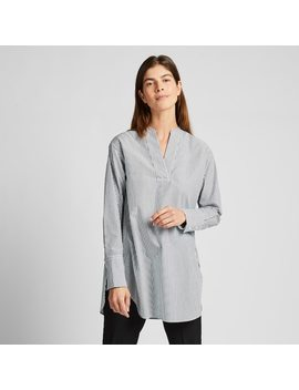 Women Extra Fine Cotton V Neck Striped Shirt by Uniqlo