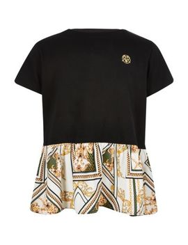 Girls Black Peplum Baroque Print T Shirt by River Island