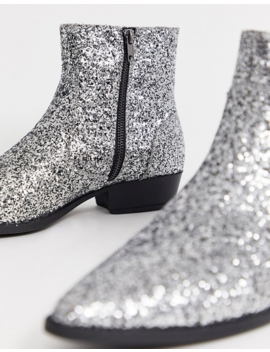 Asos Design Stacked Heel Western Chelsea Boots In Silver Glitter by Asos Design