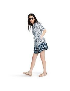 Women's Shibori Print Elbow Sleeve Button Front Mini Shirtdress   Thakoon For Target White/Blue by Front Mini Shirtdress
