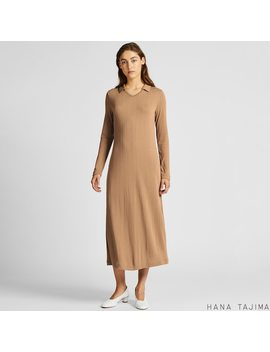 Women Hana Tajima Ribbed V Neck Longline Long Sleeved Dress by Uniqlo