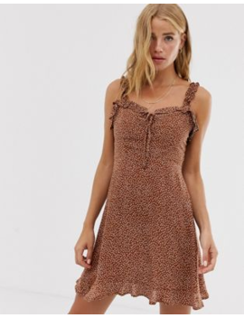 Pull&Amp;Amp;Bear Frill Detail Dot Printed Mini Dress In Tobacco by Pull&Amp;Bear