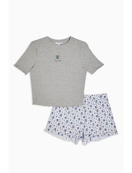 Stay Wild Slogan Embroidered Pyjama Set by Topshop