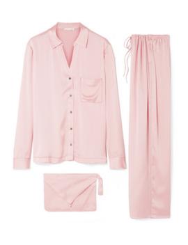 Washed Silk Satin Pajama Set by Skin