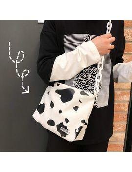 Hampa   Cow Print Canvas Crossbody Bag by Hampa