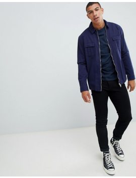 Asos Design – Marinblå Långärmad T Shirt Med Rund Halsringning by Asos Design