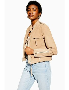 Tan Suede Jacket by Topshop
