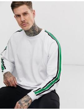 Asos Design – Übergroßes Sweatshirt Mit Gestrickten Seitenstreifen Und Gerippten Einsätzen In Weiß by Asos
