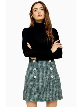 Green Boucle Mini Skirt by Topshop