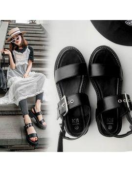 Anran   Buckled Strap Block Heel Platform Sandals by Anran