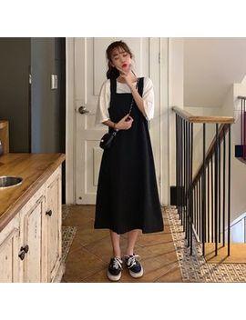 Mikiko   Crew Neck Elbow Sleeve T Shirt / Plain Midi Pinafore Dress by Mikiko
