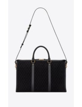 Monogram All Over Medium Duffle En Suède by Saint Laurent