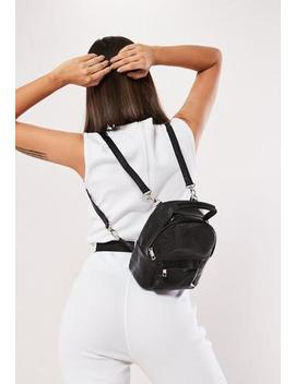 Black Faux Leather Croc Backpack by Missguided