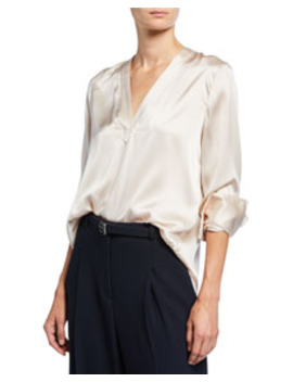 Blaze V Neck Long Sleeve Silk Satin Blouse by Elie Tahari