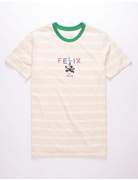 Neon Riot Felix The Cat Text Stripe Mens T Shirt by Neon Riot