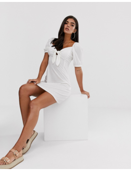 Boohoo Puff Sleeve Skater Dress In White by Boohoo