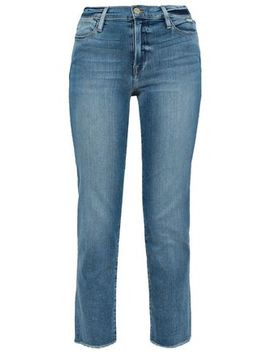 Le High Cropped Faded High Rise Straight Leg Jeans by Frame