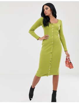 Missguided Ribbed Popper Front Midi Dress In Green by Missguided