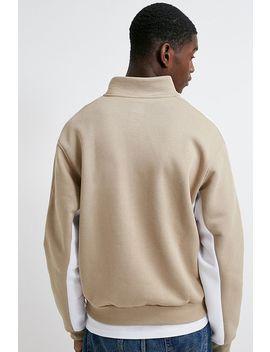 Adidas Beige Fleece Quarter Zip Sweatshirt by Adidas
