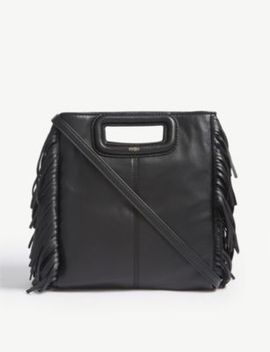 M Large Leather Cross Body Bag by Maje