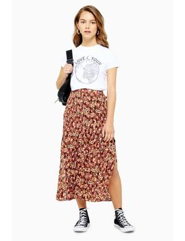 Petite Floral Crystal Pleat Skirt by Topshop