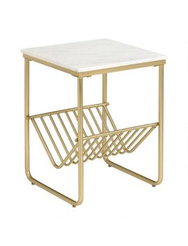 White Marble And Gold Metal Waylon Accent Table With Rack by World Market