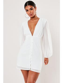 Tall White Button Through Milkmaid Mini Dress by Missguided