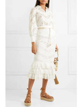Veneto Lantern Broderie Anglaise And Lace Blouse by Zimmermann