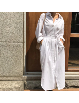 Women Shirt Lapel Maxi Dress Casual Simple Long Sleeve Bandage Pure Color Fashion Loose Long Dress Summer 2019 Robe Femme by Ali Express.Com