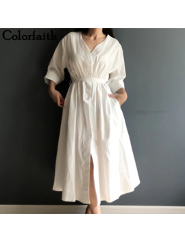 Colorfaith New 2019 Women Dresses Spring Summer Cotton Linen Elegant Ladies Pleated Long White Dresses V Neck Lace Up Bow Dr1086 by Ali Express.Com