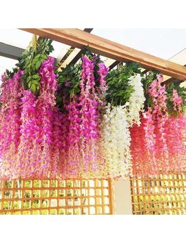 12 Pcs Wisteria Artificial Flowers Garland Artificial Vine Rattan Silk Flower Vine,Wedding Arch,Outdoor Greenery,Cascading Fake Flower by Etsy