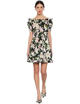 Printed Off Shoulder Cotton Poplin Dress by Dolce & Gabbana