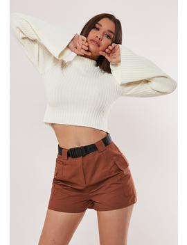Brown Belted Shorts by Missguided