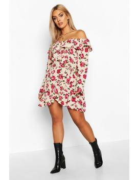 Plus Ruffle Floral Wrap Dress by Boohoo