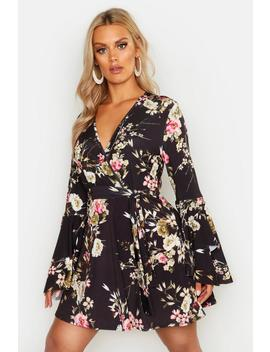 Plus Floral Wrap Extreme Ruffle Sleeve Dress by Boohoo